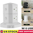 Tower Socket Extension Lead 4 Way Cable Surge Protected Power with 6 USB Port UK