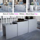 Nest of 3 Coffee Tables Set Side End Nested Tables White/Black Glass Tops 3 in 1