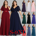 UK Ever-Pretty Plus Size Long V-Neck Bridesmaid Dresses Evening Ball Gowns 09890