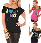 Ladies Women s I Love the 80s Fancy Dress Hen Party Retro T-Shirt Top New 8-26