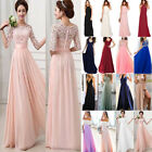 Women s Lace Long Formal Wedding Evening Ball Gown Party Prom Bridesmaid Dresses