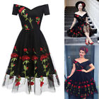 Womens 1950s 60s Vintage Retro Floral Rockabilly Cocktail Party Prom Swing Dress