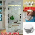 48X 3D Mirror Tiles Mosaic Wall Stickers Self Adhesive Bedroom Art Decal Home LE
