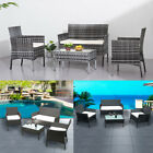 Rattan Garden Furniture 4 piece Set Chair Sofa Table Garden Patio Park Pub Home