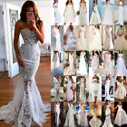 Womens Lace White Evening Party Prom Ball Gown Formal Bridesmaid Wedding Dresses