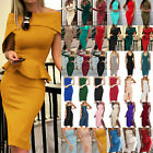 Women Solid Bodycon Midi Dress Ladies Summer Evening Cocktail Party Club Dresses