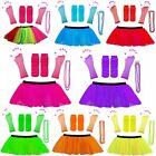 NEW NEON 80s FANCY DRESS TUTU SET GLOVES LEG WARMERS AND BEADS HEN PARTY COSTUME