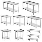 Commercial Catering Kitchen Table Stainless Steel Prep Work Bench Wall Shelf