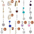 Belly Bars Button Body Piercing Ring Drop Dangle Surgical Steel Silver Gold Gift
