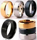 8mm Stainless Steel Mens Womens Wedding Band Black Gold Silver Ring Size K - Z+4