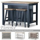 Florence Breakfast Bar with 2 large shelves. Small kitchen island with storage.