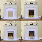 White Electric Fireplace, Flat Wall Hung Fire Surround Complete Package Suite