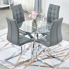 Clear Round Glass Dining Table and 2/4 Chairs Chrome Leg Kitchen Small Room Sets