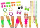 80s 1980s Theme NEON FANCY DRESS Fishnet Gloves Sweatband Legwarmer Lot