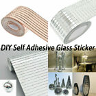 1Roll 1Pc Mirror Mosaic Tiles Self Adhesive Mini Square Glass Wall Tile Decor