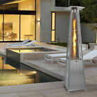 Gas Patio Heater Flame 13KW Stainless Steel Pyramid Garden Outdoor W/ Wheel New