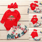 MY First Christmas Newborn Baby Girl Top Romper+Dress+Headband Clothes Outfit