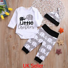 Newborn Baby Boy Girl Elephant Print Tops Romper+Pants+Hat 3Pcs Clothes Outfits