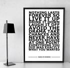 Marilyn Monroe Nothing Lasts Famous Quote Typography Art Poster Print A4 A3