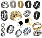 Men s Rings Stainless Steel Brushed Titanium Onyx Signet Wedding Band Thumb Ring