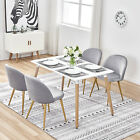 Retro Dining Table and 4 Linen Fabric Chairs Living Room Kitchen Lounge Sets