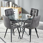 Modern Glass Dining Table and 4 Chairs Faux Suede Fabric Living Room Kitchen
