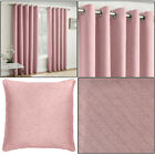 Blush Pink Vogue Thermal Blockout Lined Ready Made Eyelet Ring Top Curtains Pair