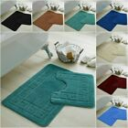 JACQUARD GREEK STYLE BATH MAT PEDESTAL SET NON SLIP TOILET BATHROOM RUGS 2 PIECE