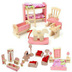 Dolls House Furniture Wooden Set People Dolls Toys For Kids Children Gift New TH