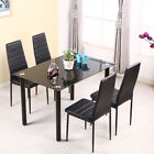 Tempered Glass Dining Table Set and 4/6 Faux Leather Chairs Kitchen Furniture UK