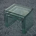 NEW MILAN SET OF 3 BENT GLASS NEST OF SIDE TABLES COFFEE SET CURVED TABLE UK