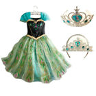 Girls Princess Dress Up Party Fancy Costume Kids Anna Dressup Cosplay Free Crown
