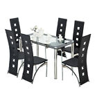 Rectangle Glass Dining Table and High Back Faux Leather Black 4/6 Chairs Sets