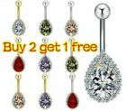 UK Silver/Gold Belly Button Piercing Bar Crystal Cluster Belly Bars Navel Rings