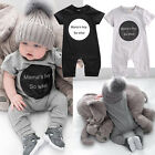 UK Newborn Baby Mama s Boy Cotton Romper Jumpsuit Outfits Short Sleeve Clothes