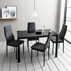 105cm Glass Dining Table Set and 4 Dining Chairs Set Faux Leather Kitchen Home