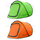 Charles Bentley 2 Person Two Man Camping Instant Pop Up Tent - Green / Orange