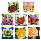 Decorative Flower Latch Hook Kits Embroidery Pillow Case Cushion Cover 40x40cm