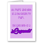 """Generic Typographic """"Legend"""" Mother s Day Card / Gift / Next Day"""