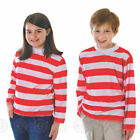 BOYS / GIRLS WALLY RED AND WHITE STRIPED SHIRT TOP WHERES FANCY DRESS CHILDS