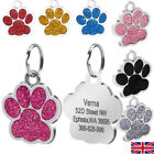 FREE ENGRAVING Dog Cat ID Name Bling Collar Tag Paw Personalised Pet ID Identity
