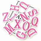 Pink Letter Patch Patches Iron on / Sew on Retro Alphabet Embroidery Clothes