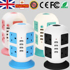 8 Way Switched Surge Protected Tower Extension Lead UK Mains Plug Socket 4 USB