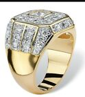 14k Gold Plated Simulated Diamont Mens Ring AAA CZ Micro Pave 3D ıce out Pinky