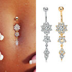 Silver/Gold Belly Button Piercing Bar Crystal Cluster Belly Bars Navel Rings BD