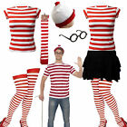 New Women s Mens Licensed Wheres Wally Kit Strips Fun Stag Do Fancy Dress XS-XXL