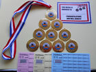 TEN PIN BOWLING MEDALS X 10 METAL/50MM /GOLD -SILVER OR BRONZE/ CERTIFICATES