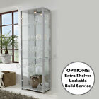 HOME Double Silver Glass Display Cabinet Glass Shelves Mirror Back Lock