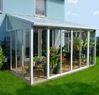 10ft 14 PALRAM WHITE SANREMO LEAN TO CONSERVATORY GLASS DOOR GREENHOUSE CLEAR