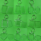 10PCS Keychain Key Ring Blank Clear Transparent Acrylic Picture Frame Locket NE8